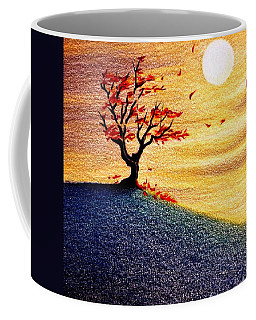 Coffee Mug featuring the drawing Little Autumn Tree by Danielle R T Haney
