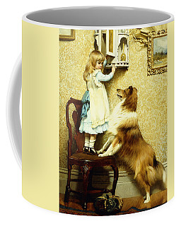 Little Girl And Her Sheltie Coffee Mug