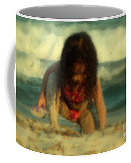Coffee Mug featuring the photograph Little Girl At The Beach by Lydia Holly