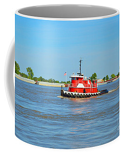 Little Red Boat On The Mighty Mississippi Coffee Mug by Alys Caviness-Gober