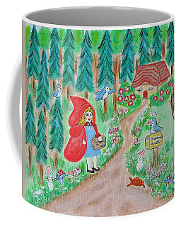 Little Red Riding Hood With Grandma's House On Mailbox Coffee Mug