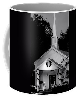 Little White Church Bw Coffee Mug by Debra Forand