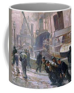 Liverpool Dockers At Dawn, 1903 Oil On Canvas Coffee Mug