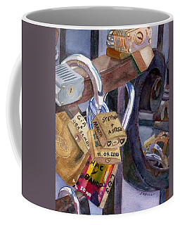 Coffee Mug featuring the painting Locks Of Luck by Lynne Reichhart