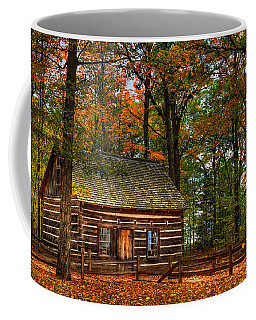 Log Cabin In Autumn Color Coffee Mug