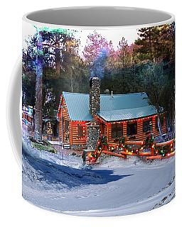 Coffee Mug featuring the photograph Log Home On Mount Charleston With Christmas Decoration by Gunter Nezhoda