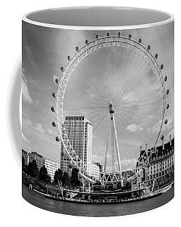 Coffee Mug featuring the photograph London Eye Head-on Bw by Matt Malloy