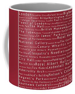 London In Words Red Coffee Mug