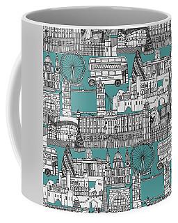London Toile Blue Coffee Mug