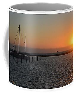 Lone Bird At The Marina Coffee Mug