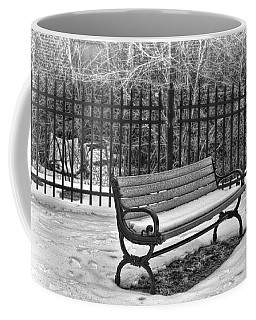 Coffee Mug featuring the photograph Lonely Bench In Winter by Beth Sawickie
