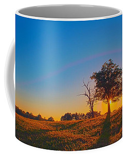 Coffee Mug featuring the photograph Lonely Tree On Farmland At Sunset by Alex Grichenko