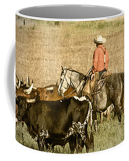 Coffee Mug featuring the photograph Longhorn Round Up by Steven Bateson