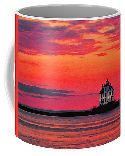 Lorain Lighthouse At Sunset Coffee Mug