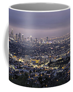 Coffee Mug featuring the photograph Los Angeles At Night From The Griffith Park Observatory by Belinda Greb