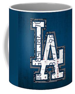 Los Angeles Dodgers Baseball Vintage Logo License Plate Art Coffee Mug