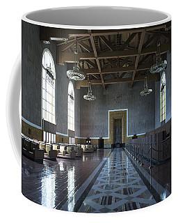 Coffee Mug featuring the photograph Los Angeles Union Station Original Ticket Lobby by Belinda Greb