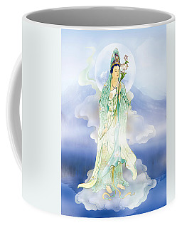 Coffee Mug featuring the photograph Lotus-holding Kuan Yin by Lanjee Chee