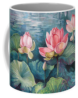Coffee Mug featuring the painting Lotus Pond by Elena Oleniuc