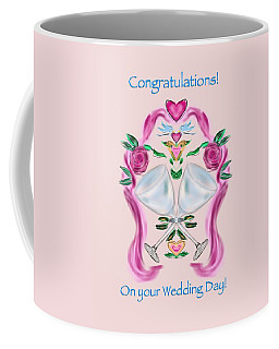 Coffee Mug featuring the digital art Love Birds Pink Wedding by Christine Fournier