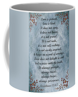 Love Is Patient Clouds Gold Leaf Coffee Mug by David Dehner