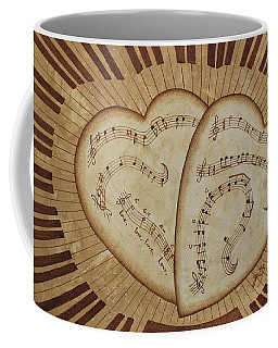 Coffee Mug featuring the painting Love Song Of Our Hearts by Georgeta Blanaru