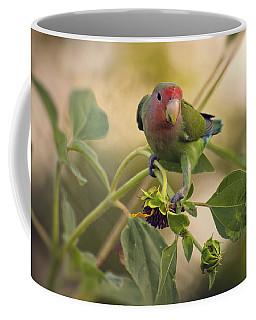 Lovebird On  Sunflower Branch  Coffee Mug