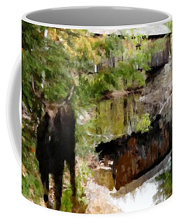 Coffee Mug featuring the painting Lovejoy Covered Bridge And Moose by Mike Breau