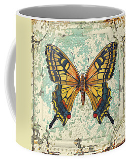 Lovely Yellow Butterfly On Tin Tile Coffee Mug by Jean Plout