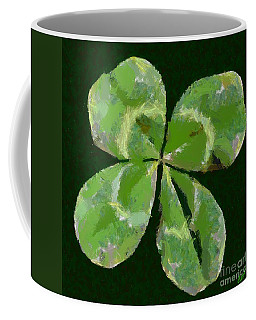 Coffee Mug featuring the painting Lucky Four Leaf Clover by Dragica  Micki Fortuna