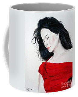 Coffee Mug featuring the mixed media Lucy Liu The Lady In Red by Jim Fitzpatrick