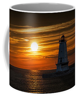 Ludington Pier Lighthead At Sunset Coffee Mug by Randall Nyhof