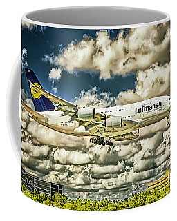 Lost In The Clouds Lufthansa A380 Named Hamburg-colorized Abstract Coffee Mug