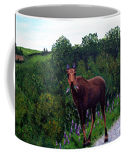 Coffee Mug featuring the painting Lupine Loving Moose by Barbara Griffin