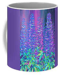 Coffee Mug featuring the mixed media Lupines by Teresa Ascone