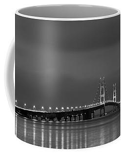 Mackinac Bridge Black And White Coffee Mug