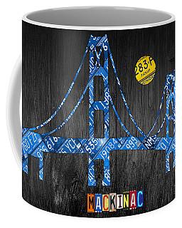 Mackinac Bridge Michigan License Plate Art Coffee Mug