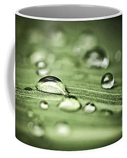 Macro Raindrops On Green Leaf Coffee Mug