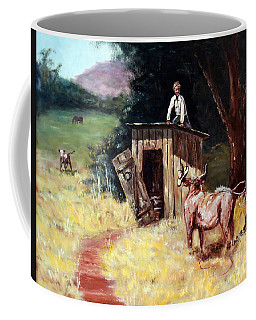 Coffee Mug featuring the painting Mad Cow  by Lee Piper