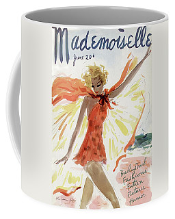 Mademoiselle Cover Featuring A Model At The Beach Coffee Mug
