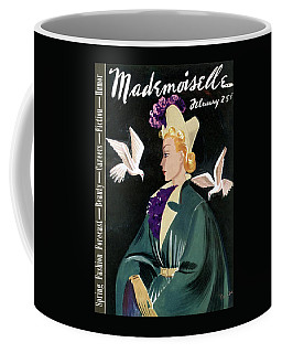 Mademoiselle Cover Featuring A Model In A Green Coffee Mug