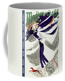 Mademoiselle Cover Featuring A Model With A Dog Coffee Mug