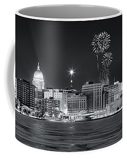 Madison - Wisconsin -  New Years Eve Panorama Black And White Coffee Mug by Steven Ralser