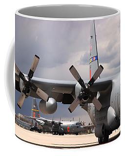 Coffee Mug featuring the photograph Maffs C-130s At Cheyenne by Bill Gabbert