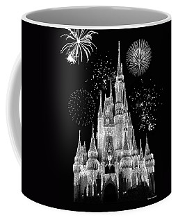 Magic Kingdom Castle In Black And White With Fireworks Walt Disney World Coffee Mug