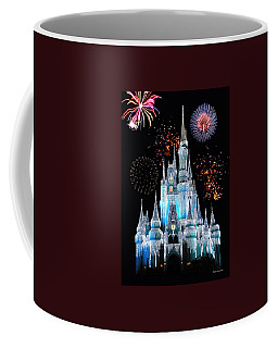 Magic Kingdom Castle In Frosty Light Blue With Fireworks 06 Coffee Mug by Thomas Woolworth