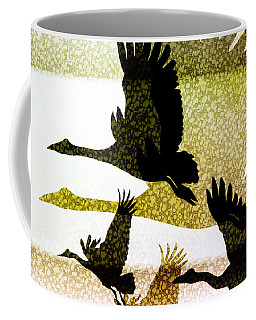 Coffee Mug featuring the digital art Magpie Geese In Flight by Holly Kempe
