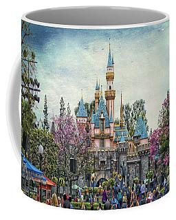 Main Street Sleeping Beauty Castle Disneyland Textured Sky Coffee Mug