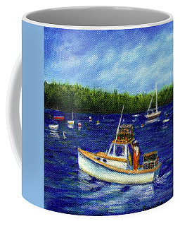 Coffee Mug featuring the painting Maine Lobster Boat by Sandra Estes