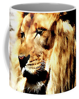Coffee Mug featuring the painting Male African Lion by Jennifer Muller